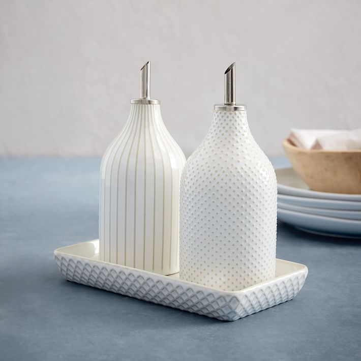 Pretty textured vinegar and oil set from West Elm for an affordable Mother's Day gift under $25