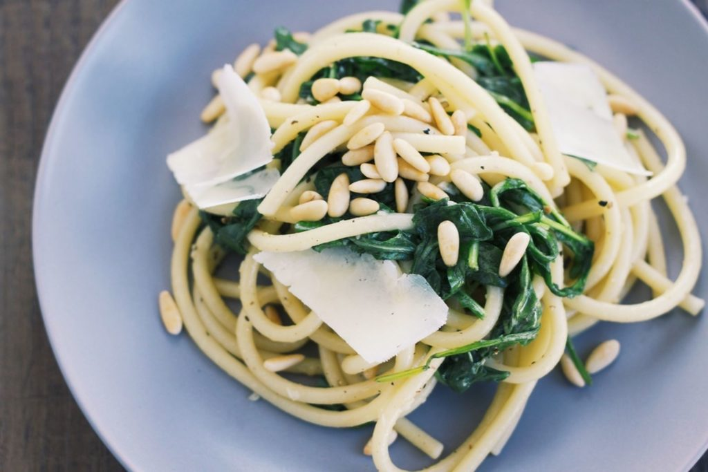 Lighter spring recipes; Lemon bucatini with wilted arugula at Food 52, by The Mess I Make