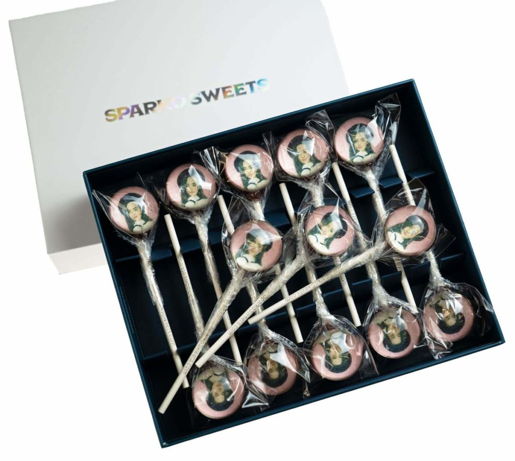 Put their had inside a lollipop for a unique party favor with Sparko Sweets personalized lollipops