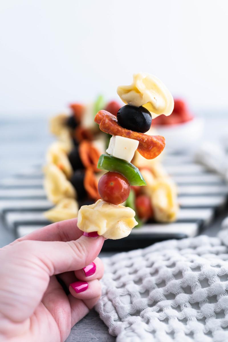 Easy spring appetizer for dinner: Pasta salad on a stick at Meg's Everyday Indulgence