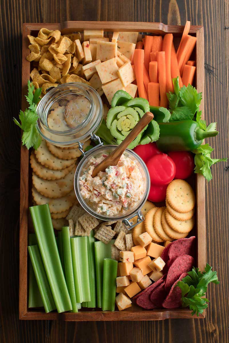 Easy spring appetizer for dinner: Jalapeño pimento cheese at Peas and Crayons with crudités. But I serve it with everything!