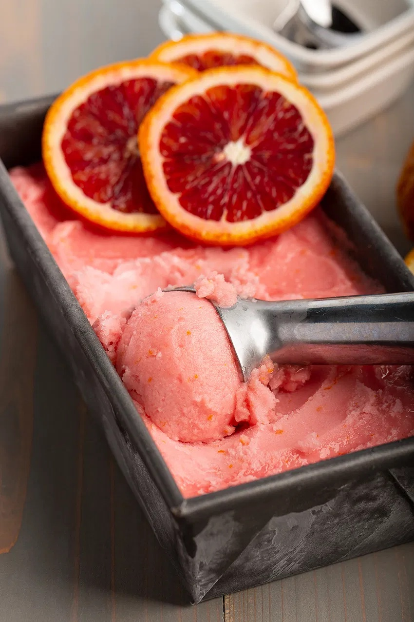 Tricks for lghter summer dessert recipes: Swap out ice cream for sorbet! This blood orange sorbet at The Missing Lokness is simple and works well with nearly any fresh fruit
