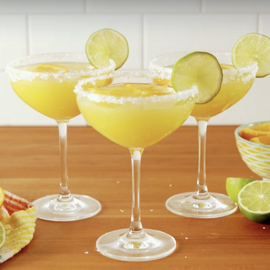 Easy champagne cocktail recipes: Mimosa Margarita cocktail from Delish. You probably have all the ingredients on hand already!