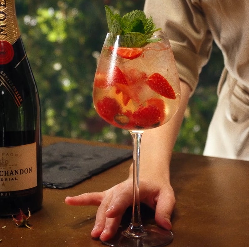 Easy, delicious champagne cocktail recipes: Moet & Chandon's Golden Hour Champagne Cocktail is fruity and refreshing