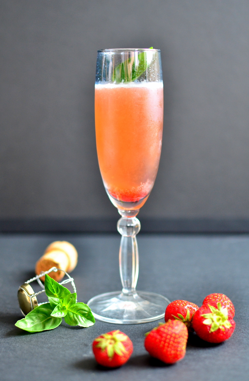 Champagne cocktail recipes: Strawberry basil bubbly cocktail from Diane, A Broad