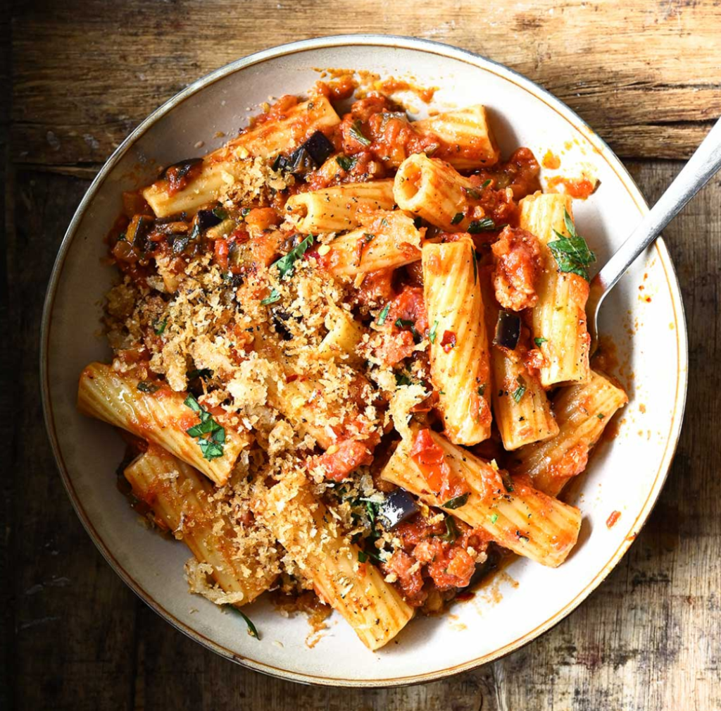 Eggplant Tomato Pasta with Bacon from Serving Dumplings