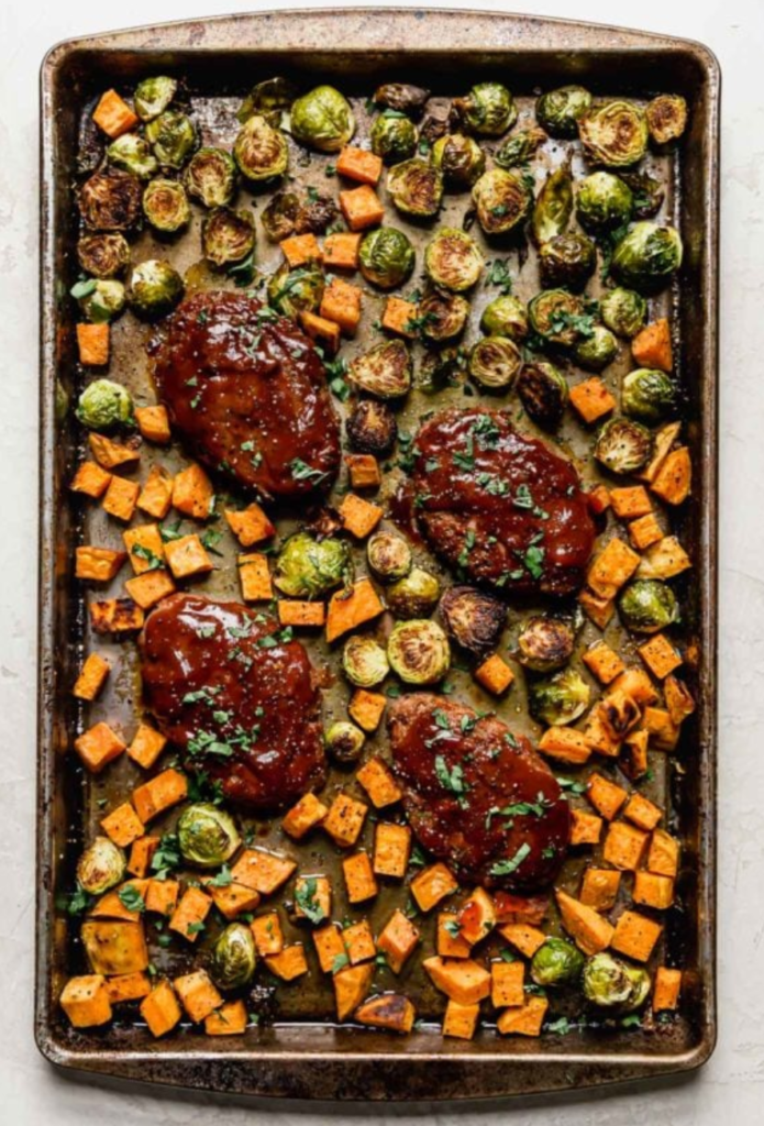 Sheet Pan Mini Meatloaf with Vegetables from ReatFoodRDs