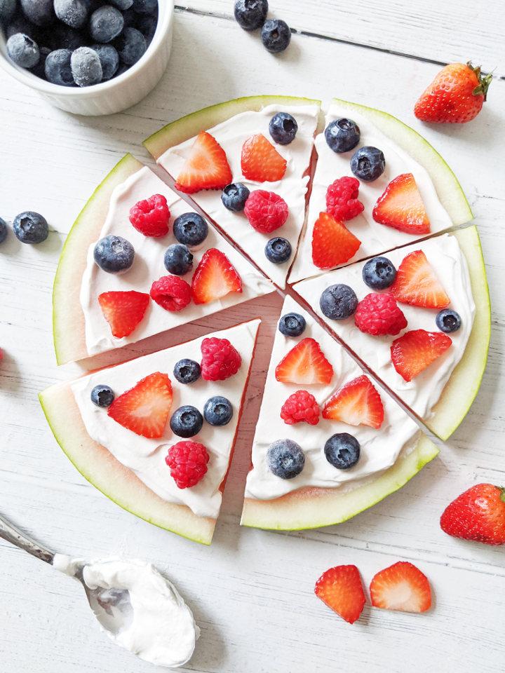 Dessert pizza recipes: Watermelon slice dessert pizza at Health My Lifestyle