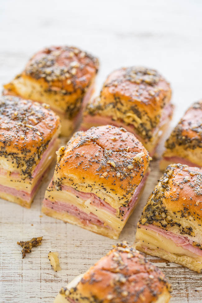 Weekly meal plan ideas: Ham & Cheese sliders at Averie Cooks