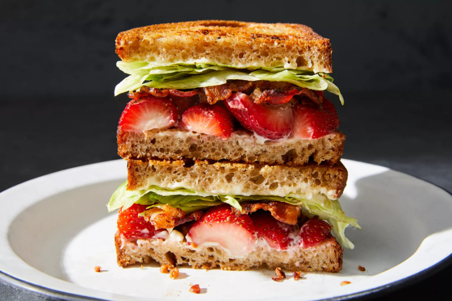 Bacon Strawberry Lettuce Sandwich from Food52 is my family's new favorite! | Photo by Ty Mecham