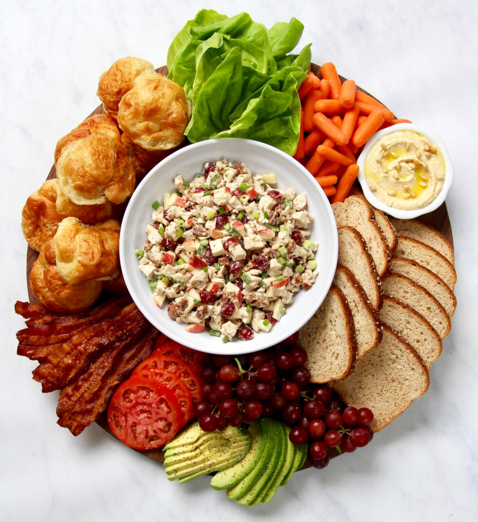 Genius hot summer night meal idea: Build your own chicken salad sandwich board with these ideas and recipes from The Baker Mama