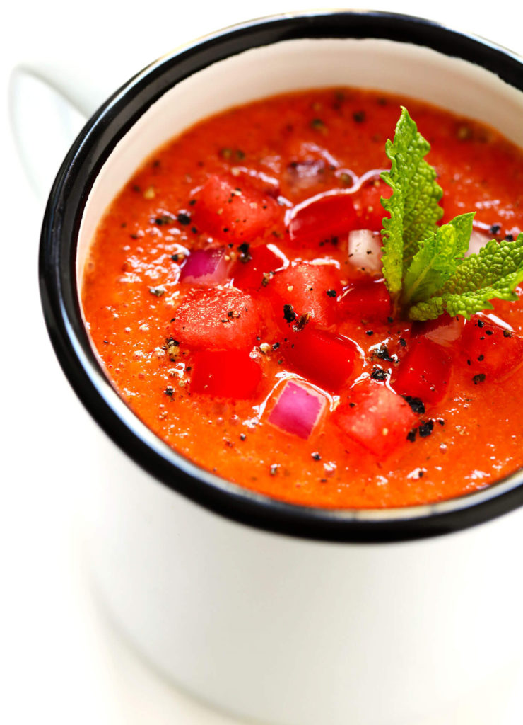 Meals for a heatwave: Cold soups like this Watermelon-Gazpacho Recipe from GimmeSomeOven