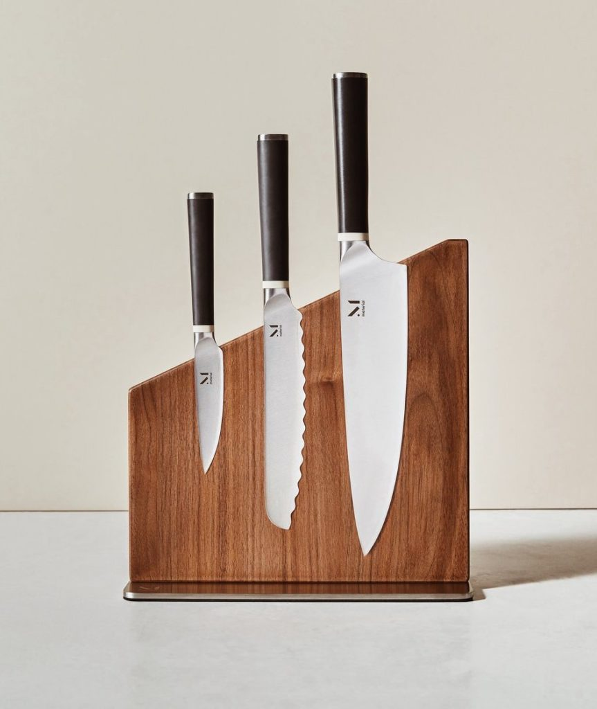 Stunning Japanese steel knife set and magnetic block from Material | AAPI-owned food gifts