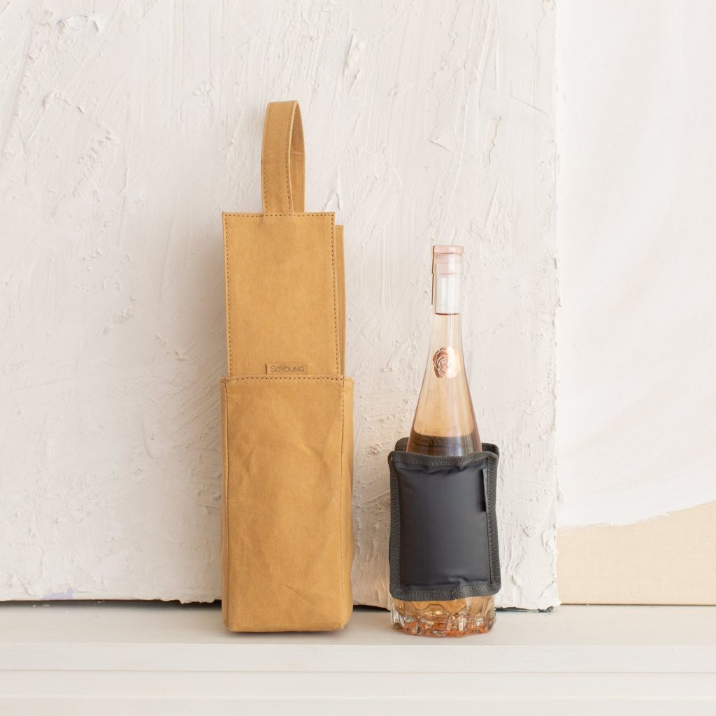 AAPI owned food gifts: The lovely Kraft paper wine carrier and cooler from Catherine Choi of SoYoung