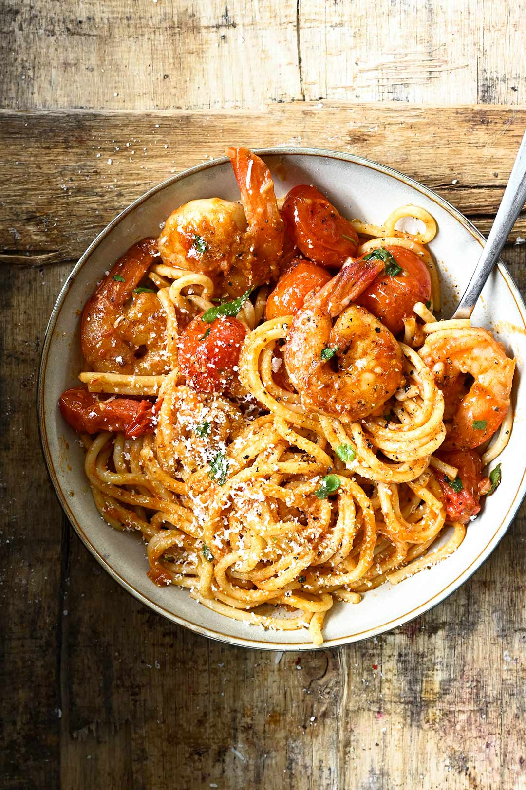 Weekly meal plan ideas: Pasta night gets spicy, with this Spicy tomato and shrimp pasta at Serving Dumplings