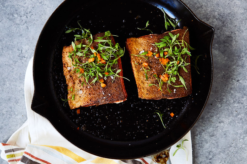 Cast Iron Skillet Recipes: 6-Minute Crispy Skin Cast Iron Salmon from Tasty Yummies