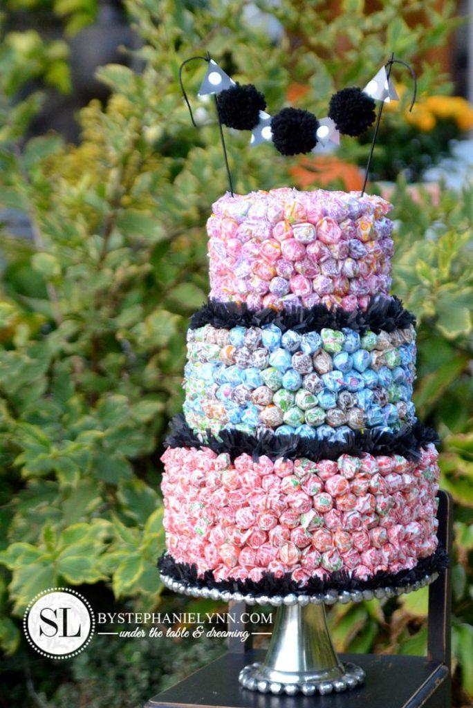Create an allergy-free birthday cake using Dum Dum lollipops with Stephanie Lynn's instructions
