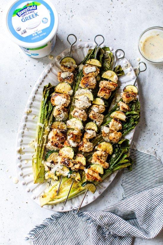 2021 meal plan ideas: Grilled Chicken Caesar Skewers at Skinny Taste