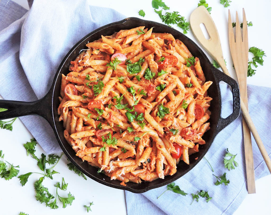 Cast Iron Skillet Recipes: Creamy Tomato Pasta Skillet from Beautiful Eats and Things