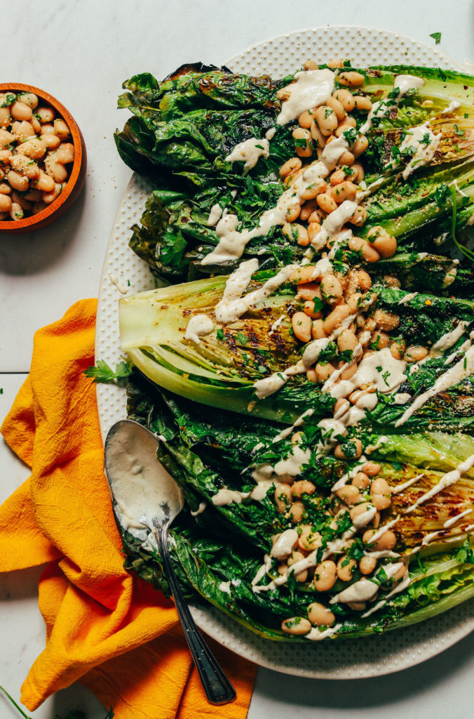 Great Cast Iron Skillet Recipes: Grilled Romaine Caesar Salad with Herbed White Beans rom Minimalist Baker