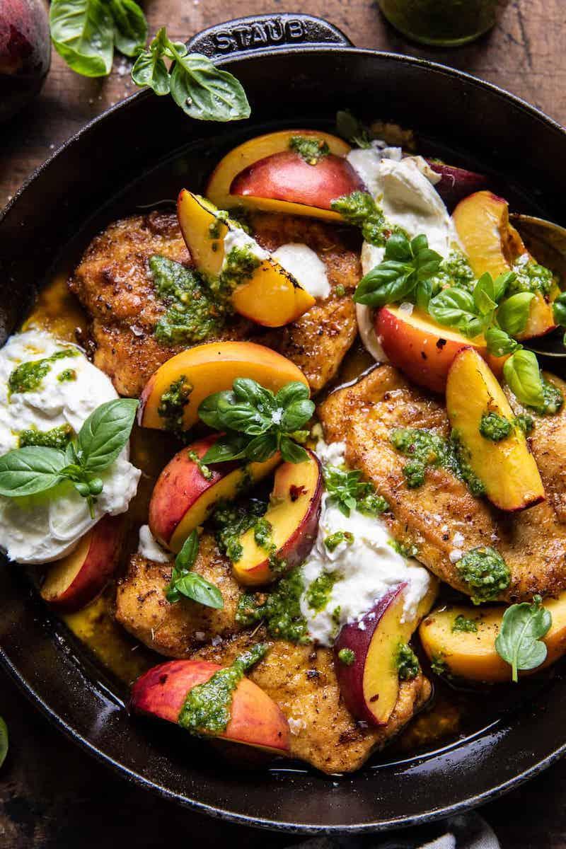 2021 meal plan ideas: Pesto Peach Chicken at Halfbaked Harvest