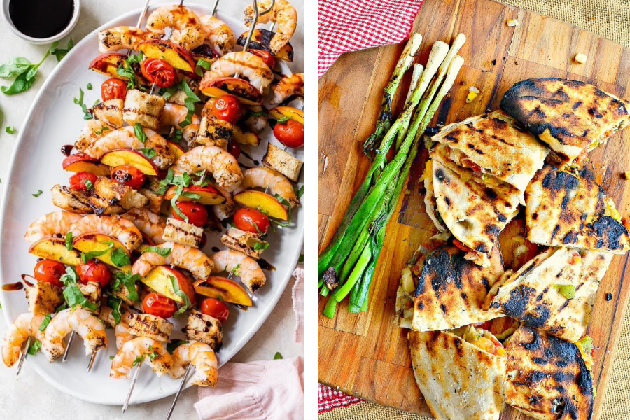 Grilling meal plan ideas: Shrimp Panzanella Skewers at Skinny Taste and Grilled Quesadillas at This Is How I Cook