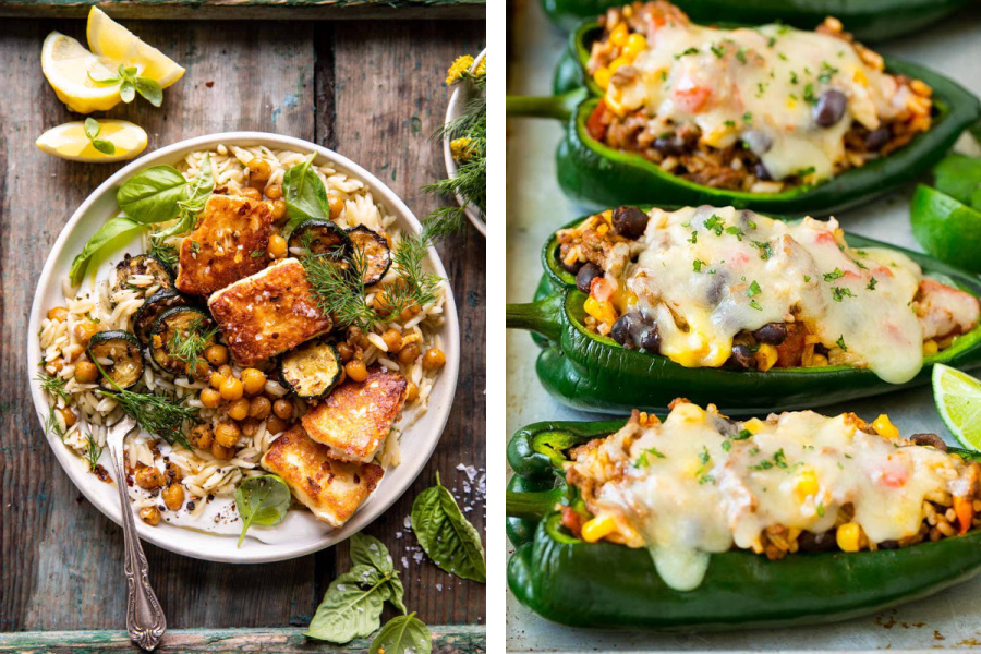 Weekly meal plan ideas: 5 dinners featuring summer veggies, like this Orzo dish at Halfbaked Harvest and stuffed peppers at Dinner at the Zoo