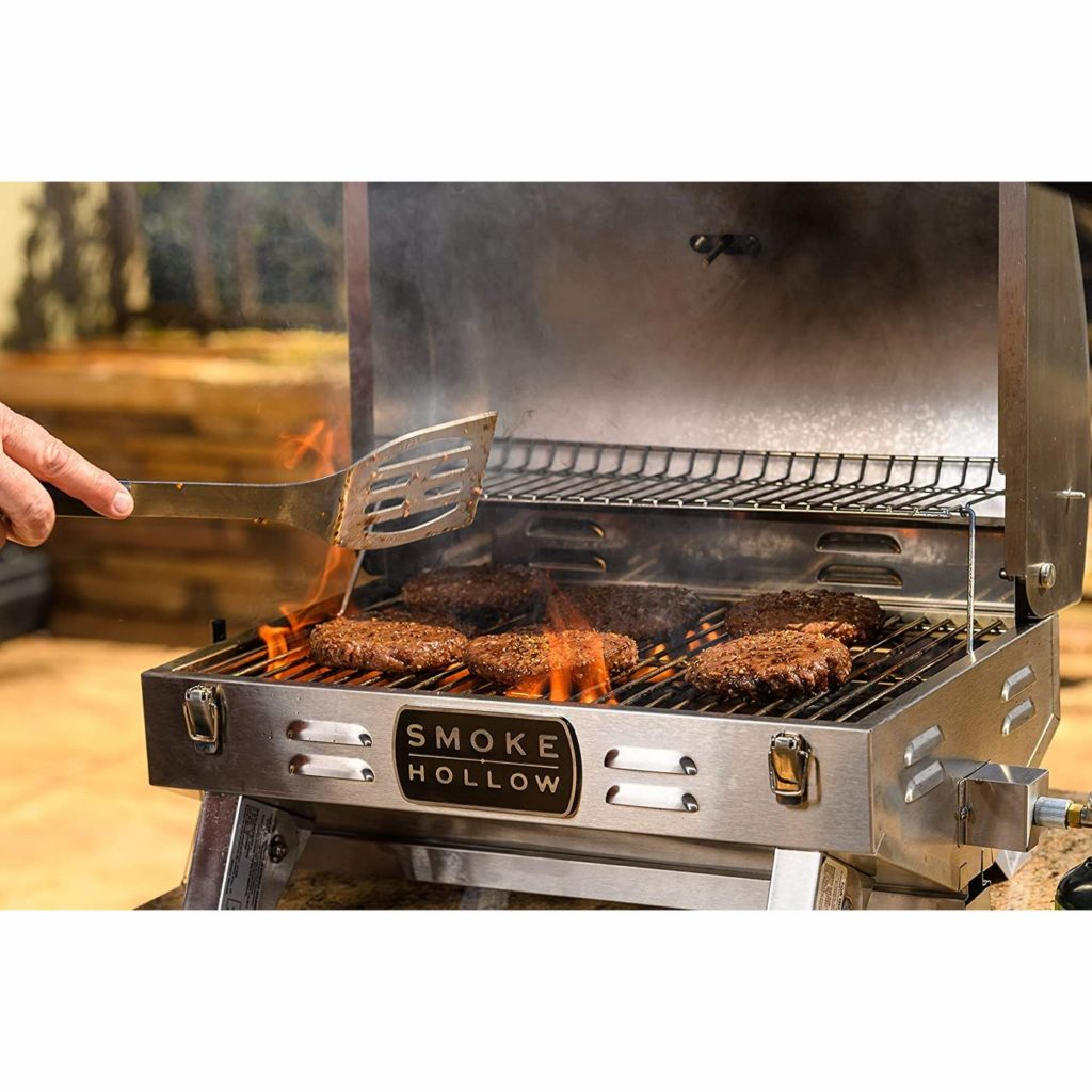 We're big fans of the Smoke Hollow portable grill  -- room for six burgers, but so compact and portable!