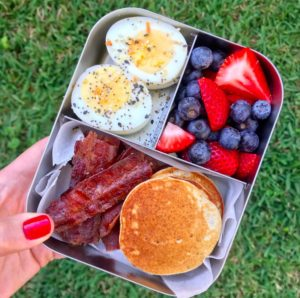 Put together charcuterie breakfast for school lunch with this idea from Milk and Honey Nutrition