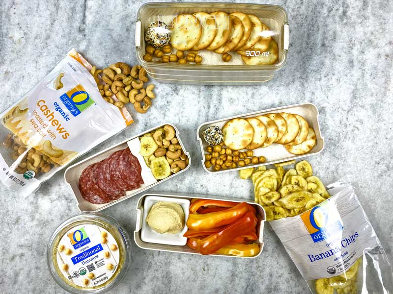 Purchase larger containers to save money when assembling charcuterie-style school lunches as shown by My Crazy Good Life