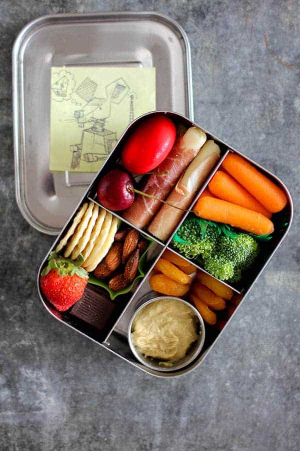This Mess is Ours uses a bento box to create a charcuterie-style school lunch