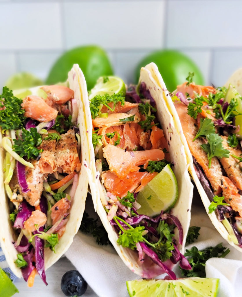Weekly Meal Plan: Grilled-Salmon-Tacos-with-Blueberry-Coleslaw-from-Beautiful-Eats-and-Things