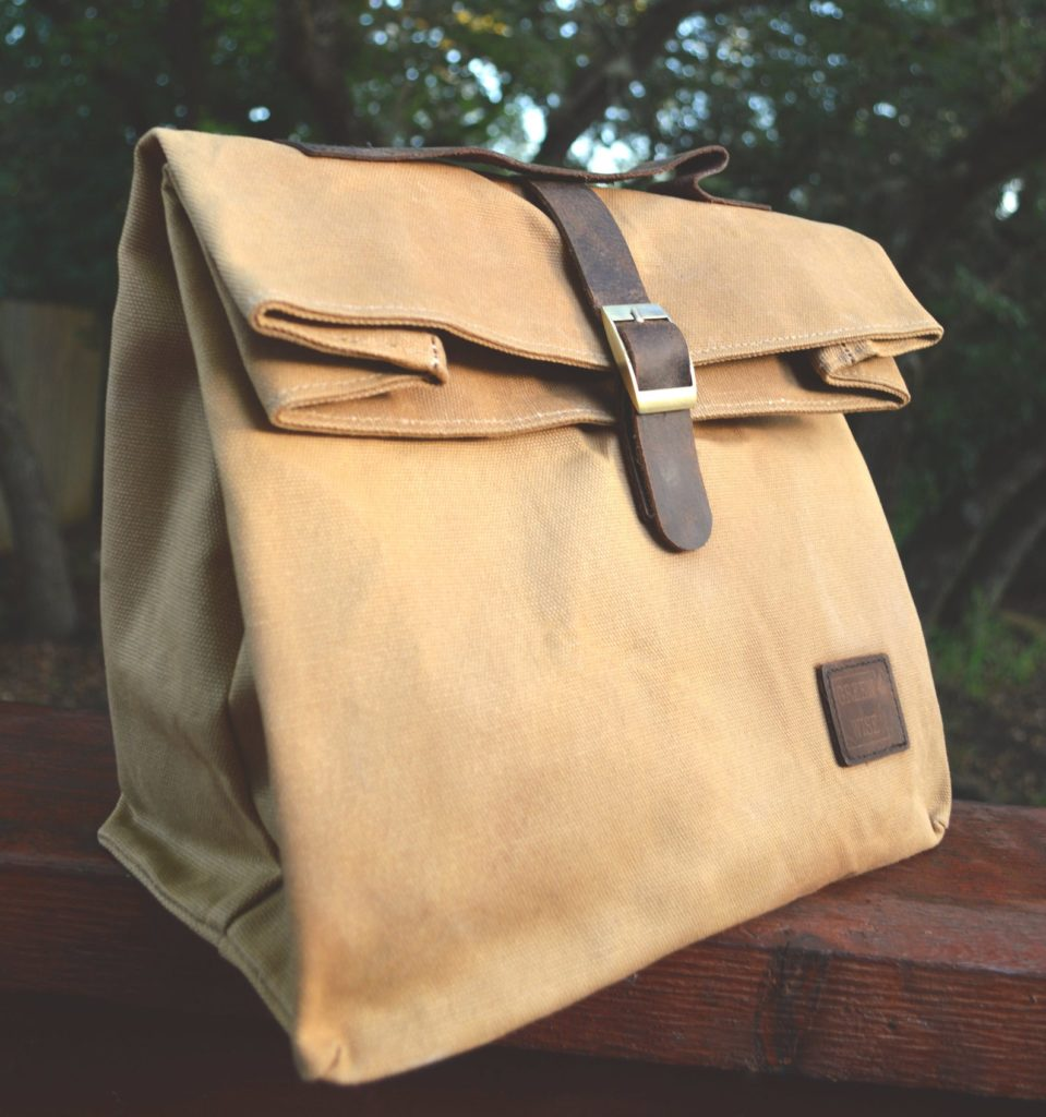 Cool lunch bags for Teens: Insulated Waxed Cotton Canvas Lunch bag from Etsy