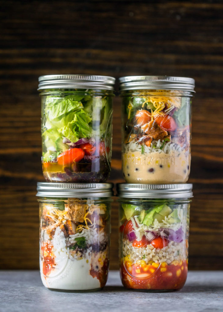Mason jar burrito bowls make a great school lunch from Gimme Delicious