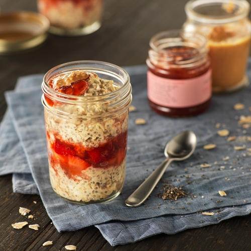 Try this twist on a PB&J with Ready Set Eat's mason jar overnight oats recipe