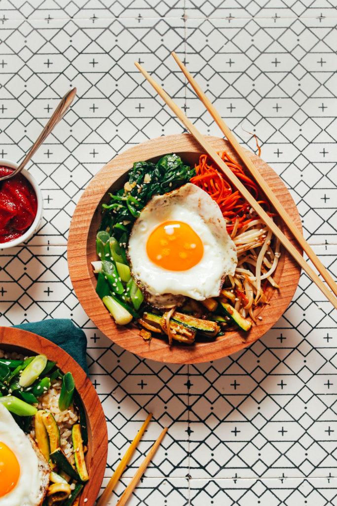Meal plan ideas using August produce: Bibimbap Bowls at Minimalist Baker