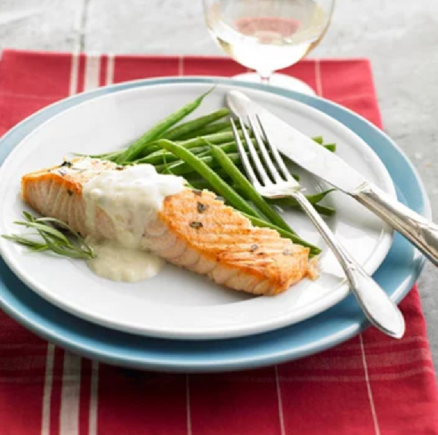 Weekly Meal Plan Ideas: Cider Brined Coho Salmon with Dijon Cream from Midwest Living