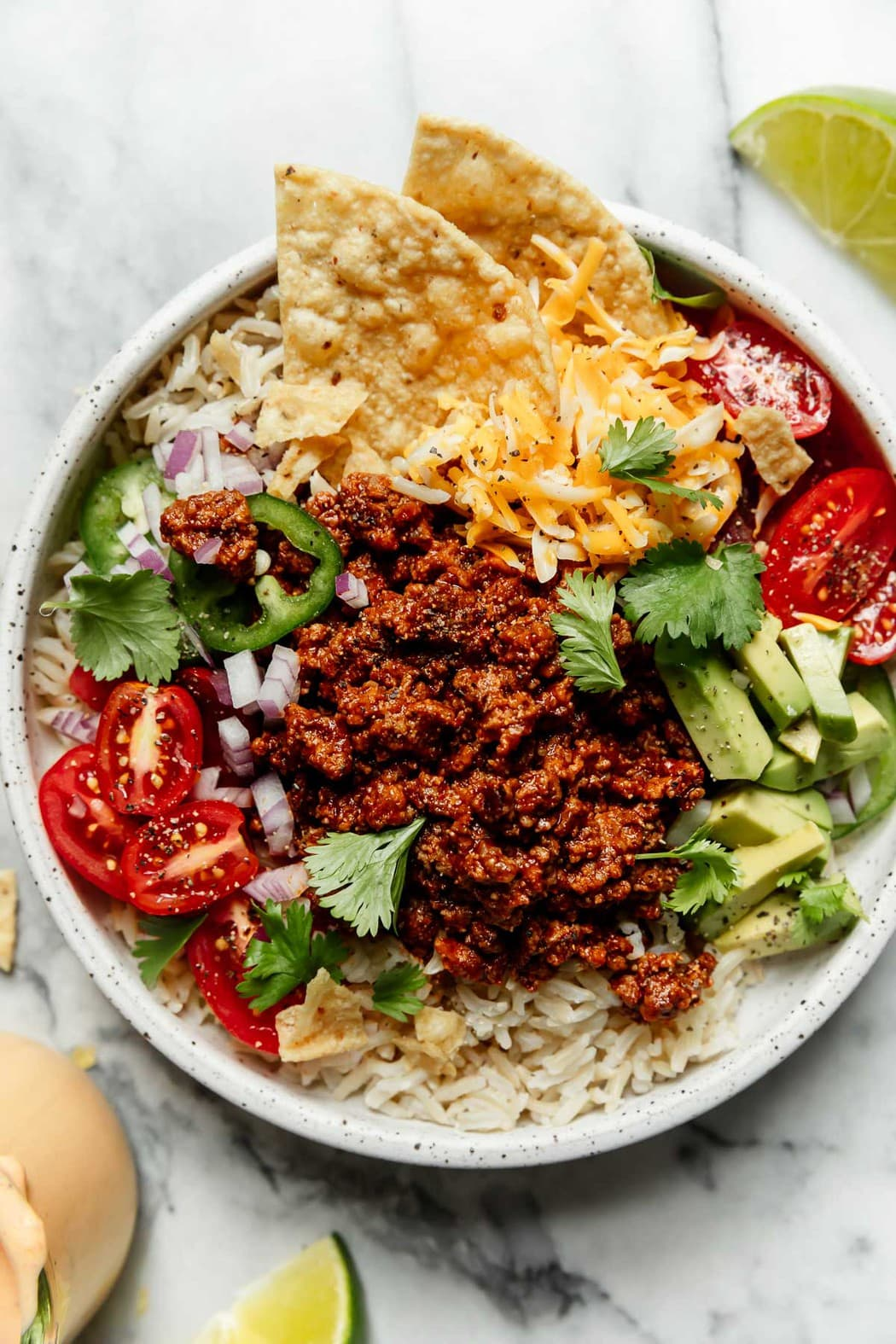 Meals that make great lunches: Weekly Meal Plan Ideas #34 - Easy Beef Taco Bowl with Salsa Ranch from TheRealFoodRDs