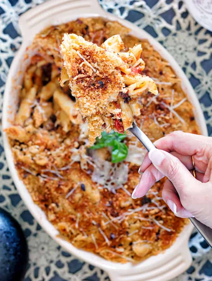 Weekly meal plan featuring September produce: Instant Pot Eggplant Pasta from Two Sleevers