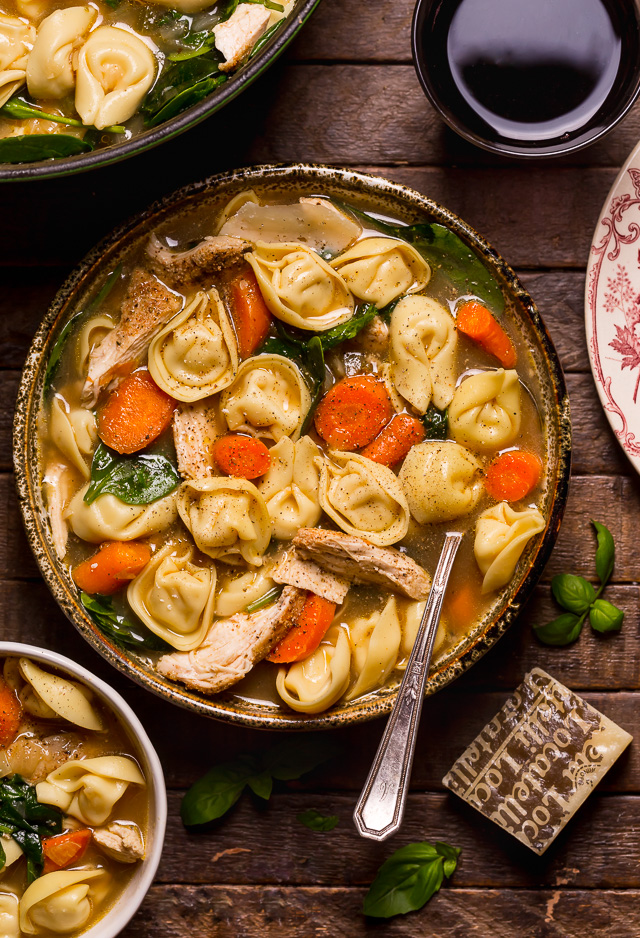 Fall Meal Ideas: Italian Chicken Tortellini Soup from Baker By Nature