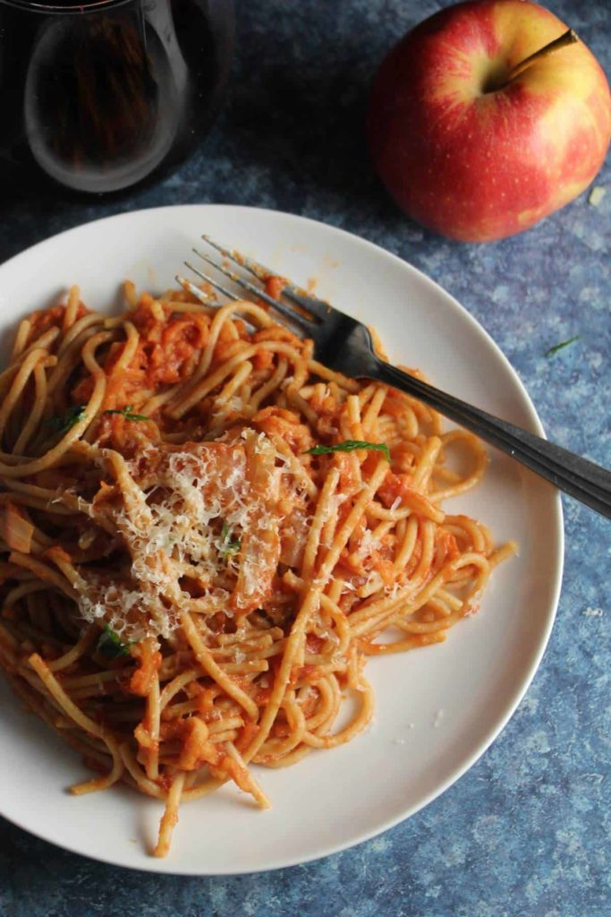Lidia's tomato sauce includes apples in this dinner recipe on Cooking Chat