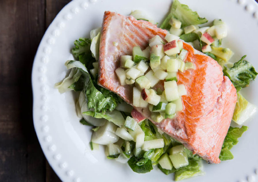 Weekly Meal Plan featuring September produce: Salmon-with-Apple-Cucumber-and-Avocado-Salsa-from-The-Vintage-Mixer