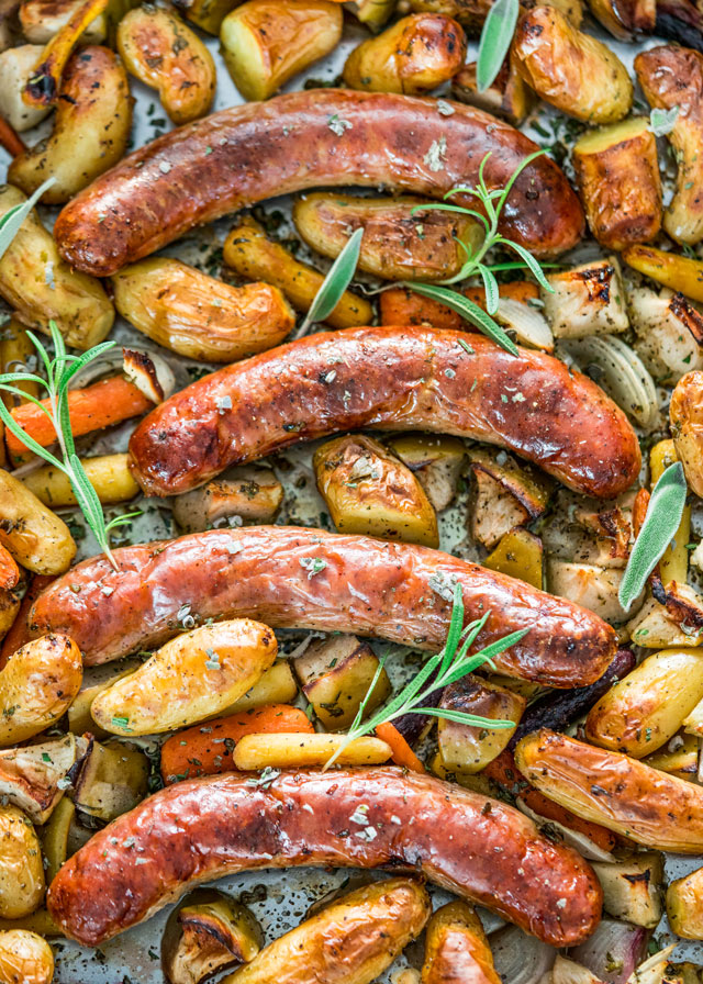 Baked sausage with apples is cooked on a single sheet pan with this recipe from Jo Cooks
