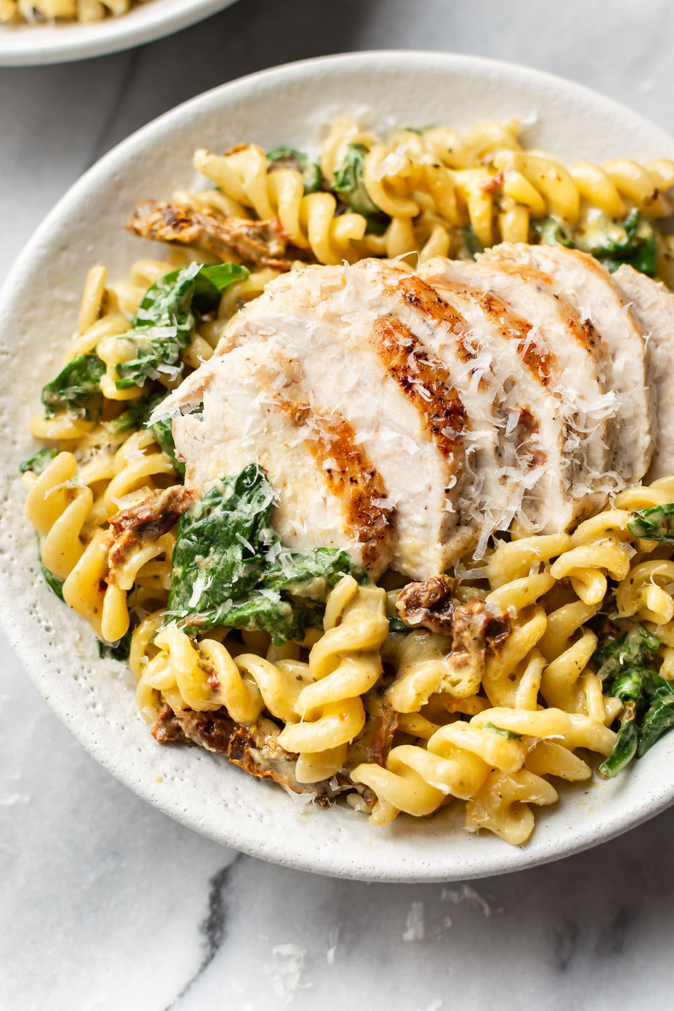 6 flex sauces that can do double-duty for meat lovers and vegetarians: Creamy Chicken Pesto Pasta | Salt and Lavender