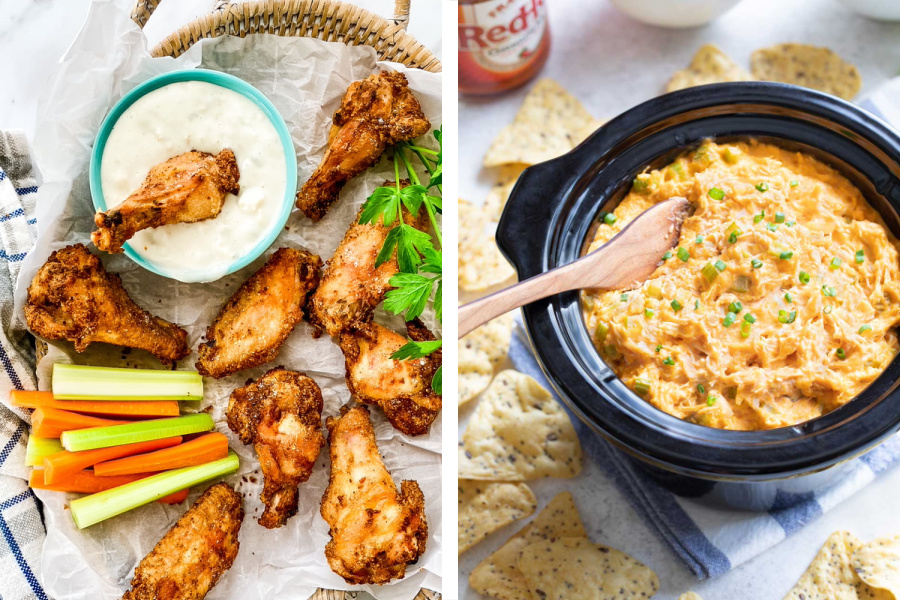 Tailgate recipes for dinner ideas: Chicken Wings at Amy Casey Cooks and Buffalo Chicken Dip at Two Healthy Kitchens
