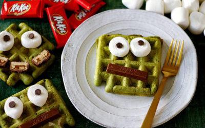 Fun Halloween breakfast ideas for kids: Matcha Monster Waffles at Handmade Charlotte